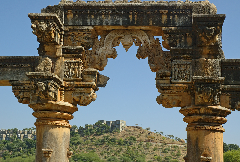 India Rajasthan columns at Nagada temple site photograph by Raphael Shevelev