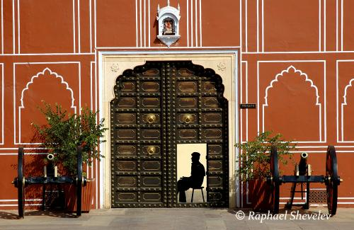 India guard at City Palace Jaipur photograph by Raphael Shevelev