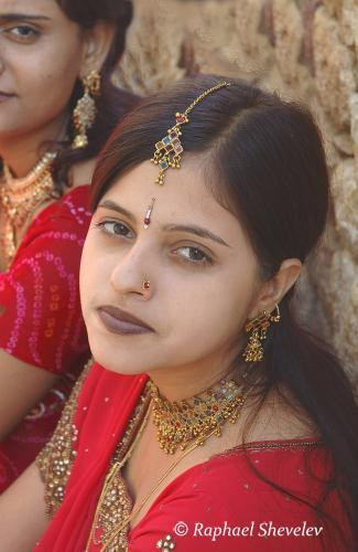 Indian girls dressed up for Teej festival in Jaisalmer Rajasthan
