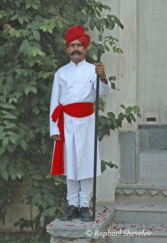 Rajput guard at Devigarh Rajasthan photograph by Raphael Shevelev