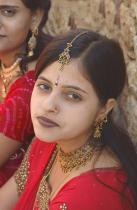 Indian girls dressed up for Teej festival in Jaisalmer Rajasthan