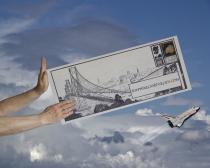 Color photographic montage pushing envelope Raphael Shevelev