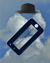 Color photographic montage Raphael Shevelev ceci n'est pas un iPod Magritte